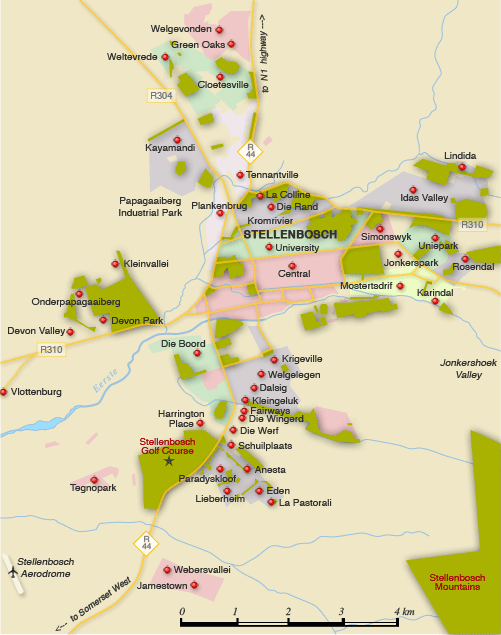 Clickable map of accommodation in Stellenbosch
