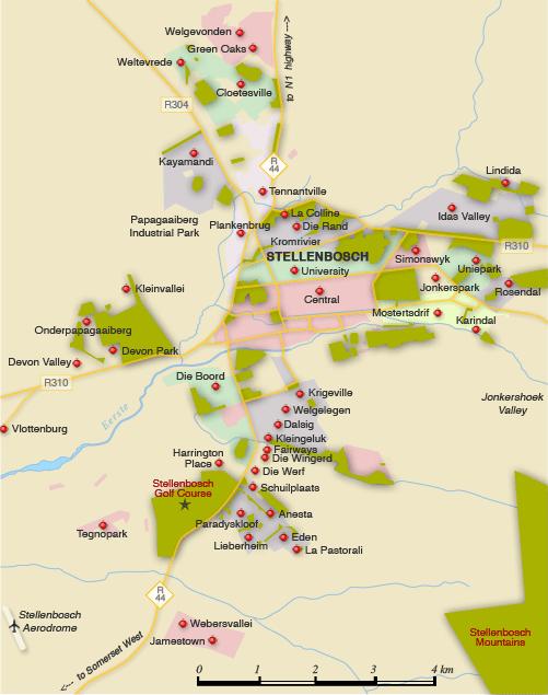 Map of Stellenbosch suburbs - Stellenbosch map, South Africa